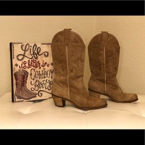 Shoes - Cute Suede Women's Cowboy Boots Size 8.5